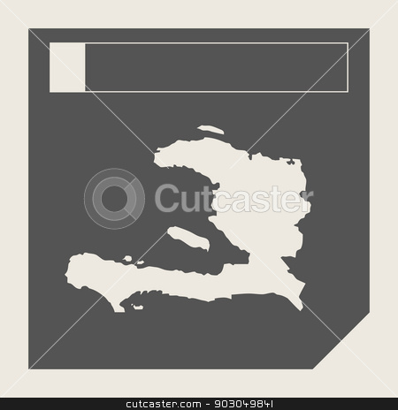 Haiti map button stock photo, Haiti map button in responsive flat web design map button isolated with clipping path. by Martin Crowdy