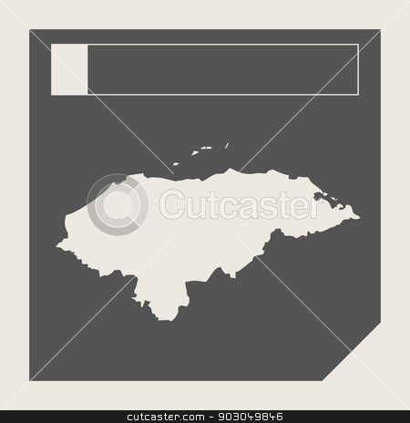 Honduras map button stock photo, Honduras map button in responsive flat web design map button isolated with clipping path. by Martin Crowdy
