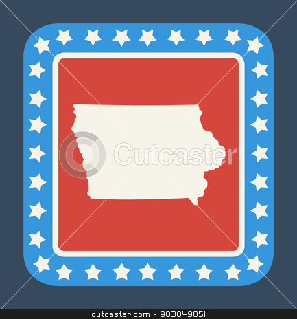 Iowa state button stock photo, Iowa state button on American flag in flat web design style, isolated on white background. by Martin Crowdy