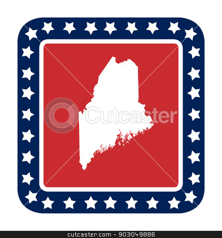 Maine state button stock photo, Maine state button on American flag in flat web design style, isolated on white background. by Martin Crowdy