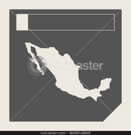 Mexico map button stock photo, Mexico map button in responsive flat web design map button isolated with clipping path. by Martin Crowdy