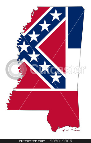 Mississippi flag map stock photo, Mississippi flag map isolated on a white background, U.S.A.  by Martin Crowdy