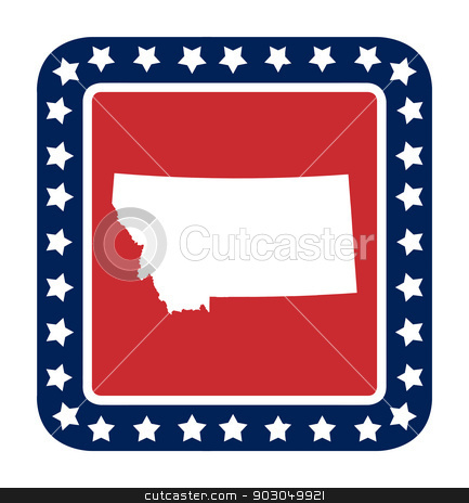 Montana state button stock photo, Montana state button on American flag in flat web design style, isolated on white background. by Martin Crowdy