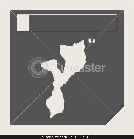 Mozambique map button stock photo, Mozambique map button in responsive flat web design map button isolated with clipping path. by Martin Crowdy