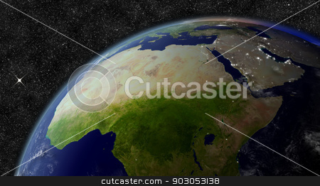 North Africa from space stock photo, North Africa from space. Elements of this image furnished by NASA. by Harvepino