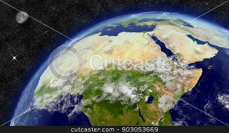 North Africa on planet Earth stock photo, North Africa region on planet Earth from space with Moon and stars in the background. Elements of this image furnished by NASA. by Harvepino