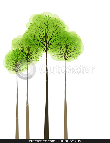 Trees stock vector clipart, Trees with leaves on white background by Miroslava Hlavacova