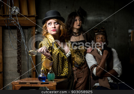 Steampunk Trio with In Retro Lab stock photo, Three Steampunks with in Retro Lab with Potions by Scott Griessel