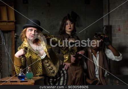 Steampunk Trio with In Retro Lab stock photo, Three Steampunks with in Retro Lab with Potions by Scott Griessel