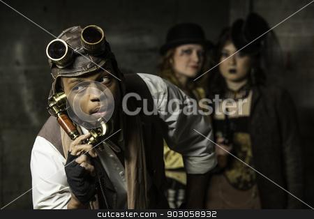 Steampunk Trio stock photo, Steam Punks in Underground Lair with Retro Phone by Scott Griessel