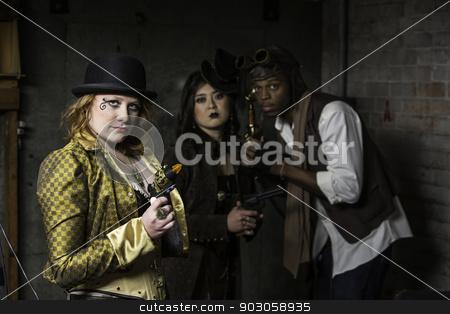 Steampunk Trio stock photo, Steam Punks in Underground Lair with Weapons by Scott Griessel