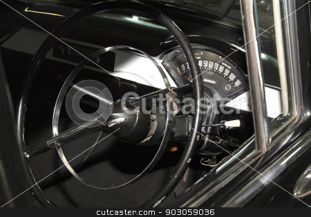 Vintage Car 1957 Chevrolet Biscayne 4 Door Sedan stock photo, RUSTENBURG, SOUTH AFRICA – FEBRUARY 15:  Black 1957 Chevrolet Biscayne 4 Door Sedan Inside Panel View in Private Collection Philip Classic Cars on February 15, 2014 in Rustenburg South Africa.    by Snap2Art