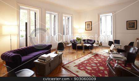 Home Living Room stock photo, Home Living Room set with decoration elements and furniture by ABBPhoto