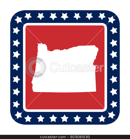 Oregon state button stock photo, Oregon state button on American flag in flat web design style, isolated on white background. by Martin Crowdy
