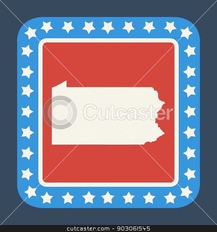 Pennsylvania state button stock photo, Pennsylvania state button on American flag in flat web design style, isolated on white background. by Martin Crowdy