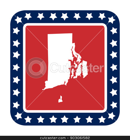 Rhode Island state button stock photo, Rhode Island state button on American flag in flat web design style, isolated on white background. by Martin Crowdy