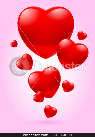 Valentine card stock photo, Flying red glass hearts on pink background by dvarg