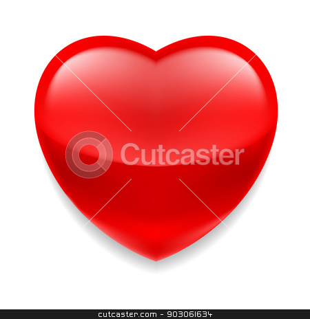 Red glass heart stock photo, Red shiny glass heart on white background by dvarg