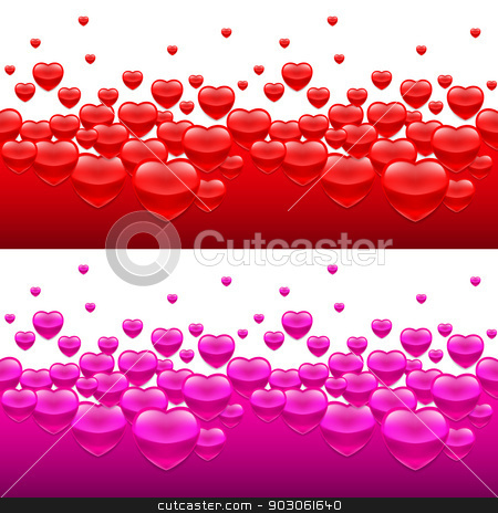 Heart backgrounds stock photo, Backgrounds with many hearts in red and purple color by dvarg
