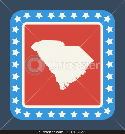 South Carolina state button stock photo, South Carolina state button on American flag in flat web design style, isolated on white background. by Martin Crowdy