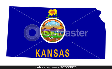 State of Kansas flag map stock photo, State of Kansas flag map isolated on a white background, U.S.A. by Martin Crowdy