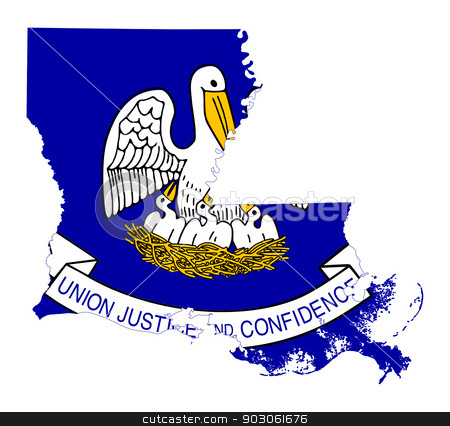 State of Louisiana flag map stock photo, State of Louisiana flag map isolated on a white background, U.S.A. by Martin Crowdy