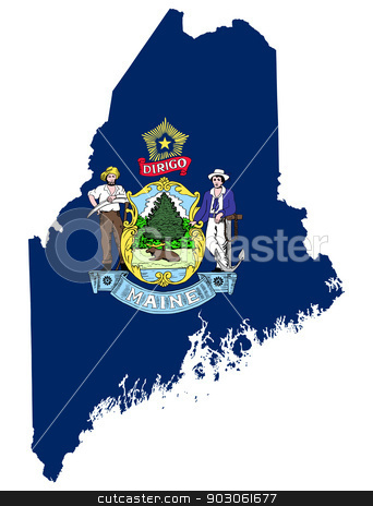 State of Maine flag map stock photo, State of Maine flag map isolated on a white background, U.S.A. by Martin Crowdy