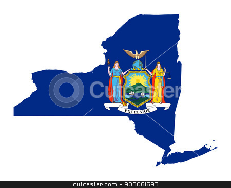 State of New York flag map stock photo, State of New York flag map isolated on a white background, U.S.A. by Martin Crowdy