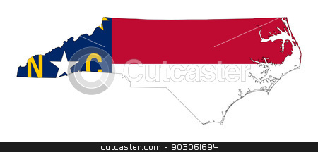 State of North Carolina flag map stock photo, State of North Carolina flag map isolated on a white background, U.S.A. by Martin Crowdy