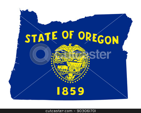 State of Oregon flag map stock photo, State of Oregon flag map isolated on a white background, U.S.A. by Martin Crowdy