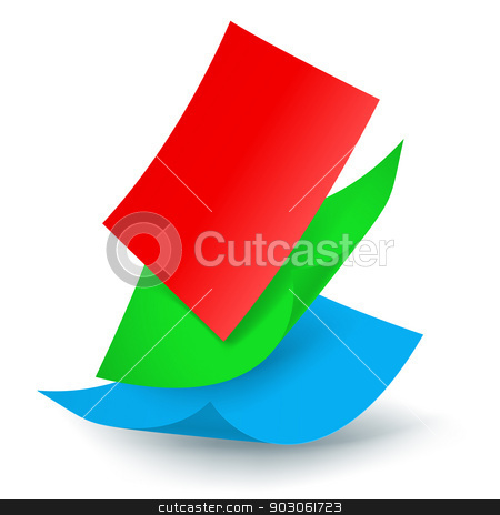 Falling paper sheets stock photo, Three colored paper sheets falling down. Illustration on white background by dvarg