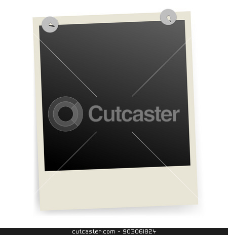 Photo frame. stock photo, Photo frame fixed with metal pins. Illustration on white. by dvarg