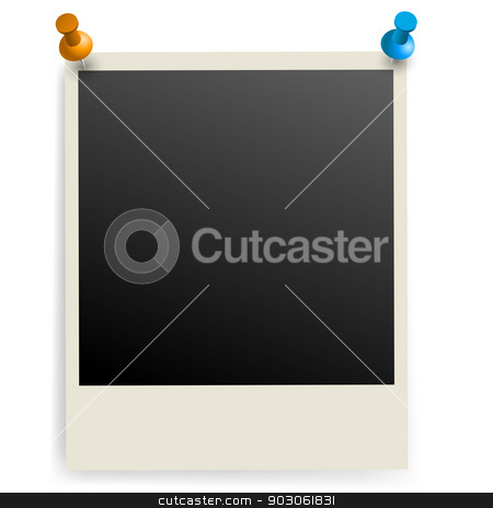 Photo frame. stock photo, Photo frame pinned on the wall. Illustration on white. by dvarg