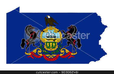 State of Pennsylvania flag map stock photo, State of Pennsylvania flag map isolated on a white background, U.S.A. by Martin Crowdy