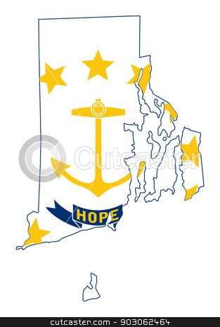 State of Rhode island flag map stock photo, State of Rhode island flag map isolated on a white background, U.S.A. by Martin Crowdy