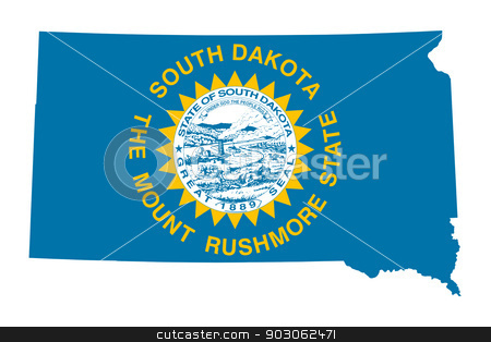 State of South Dakota flag map stock photo, State of South Dakota flag map isolated on a white background, U.S.A. by Martin Crowdy