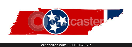 State of Tennessee flag map stock photo, State of Tennessee flag map isolated on a white background, U.S.A.  by Martin Crowdy