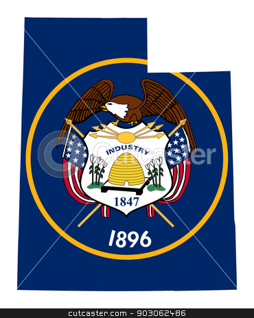 State of Utah flag map stock photo, State of Utah flag map isolated on a white background, U.S.A. by Martin Crowdy