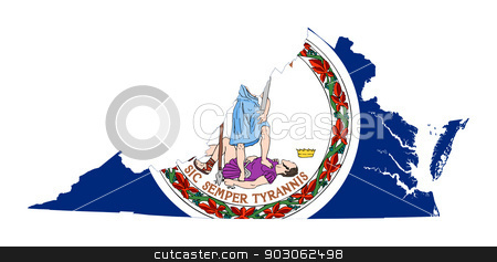 State of Virginia flag map stock photo, State of Virginia flag map isolated on a white background, U.S.A.  by Martin Crowdy