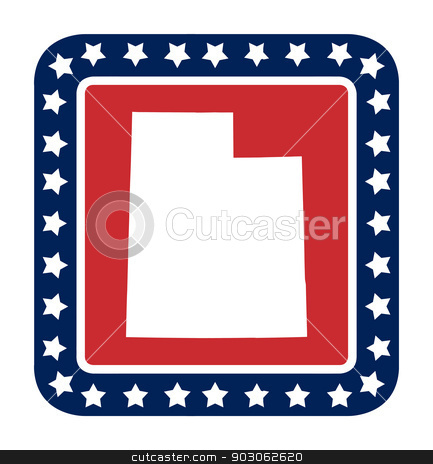 Utah state button stock photo, Utah state button on American flag in flat web design style, isolated on white background. by Martin Crowdy