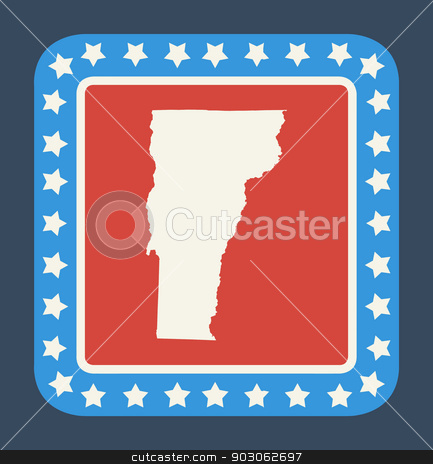 Vermont state button stock photo, Vermont state button on American flag in flat web design style, isolated on white background. by Martin Crowdy