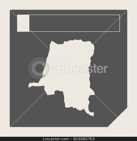 Zaire map button stock photo, Zaire map button in responsive flat web design map button isolated with clipping path. by Martin Crowdy