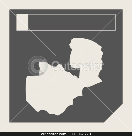 Zambia map button stock photo, Zambia map button in responsive flat web design map button isolated with clipping path. by Martin Crowdy