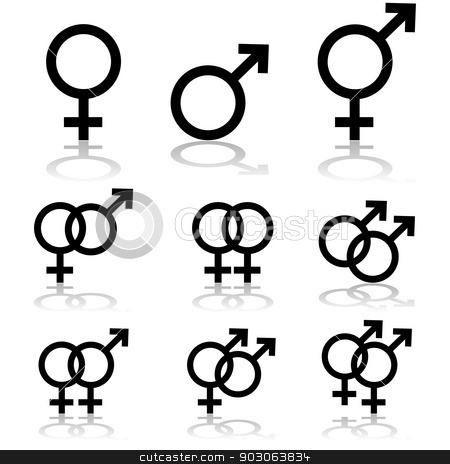 Relationships stock vector clipart, Icon set showing signs for males, females and transgendered people, and the relationships between them by Bruno Marsiaj