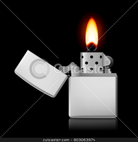 Lighter with flame. stock photo, Open metal lighter with flame on black background. by dvarg