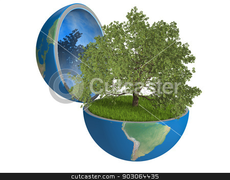 Oak tree inside planet stock photo, Oak tree growing inside opened planet Earth, isolated on white background, concept of ecology. Elements of this image furnished by NASA by Harvepino