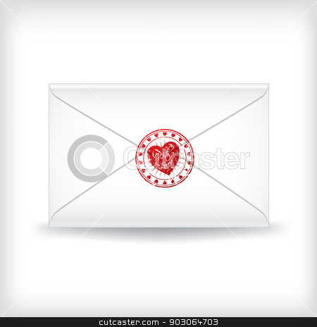 Stamp sealed love letter  stock vector clipart, Stamp sealed customizable love letter on white by Mihaly Pal Fazakas