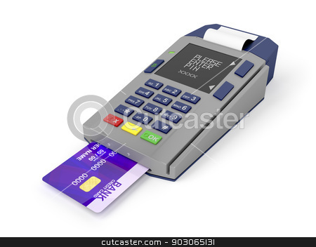 Credit card reader stock photo, Credit card and card reader on white background by Mile Atanasov