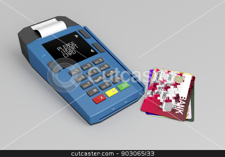 Credit card reader stock photo, Credit card reader and many credit cards on gray background by Mile Atanasov