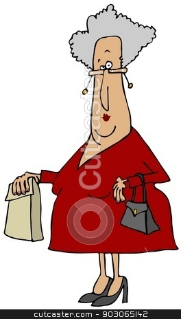 Old woman carrying a sack stock photo, This illustration depicts an old woman carrying a sack and her purse. by Dennis Cox